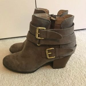 Express ankle booties with buckle detail on sides